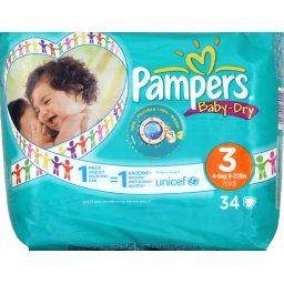 Couches Baby Dry PAMPERS, taille 3, 4 a 9kg, 34 unites
