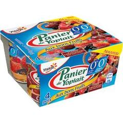 Yaourts Panier de Yoplait Cerise fruits rouges 0% 4x125g