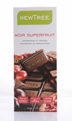 Chocolat noir aux cranberries et grenade Superfruit NEWTREE, 80g