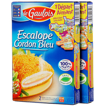 Escalope cordon bleu de dinde, le lot de 2 x 2 pieces soit 4 pieces - 400 gr