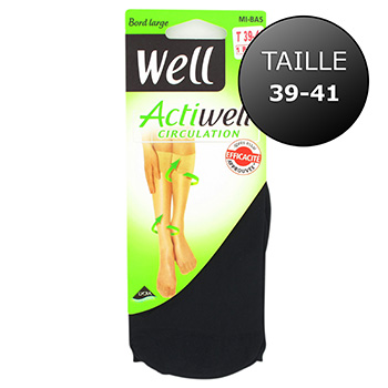 Mi-bas circulation Actiwell WELL, taille 39/41, noir