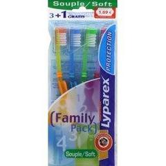 Protection Brosses a dents souples, family pack, le paquet de 4 brosses a dents