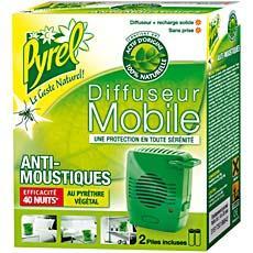 diffuseur mobile recharge anti moustiques pyrel 40 nuits 2 piles tous les produits. Black Bedroom Furniture Sets. Home Design Ideas