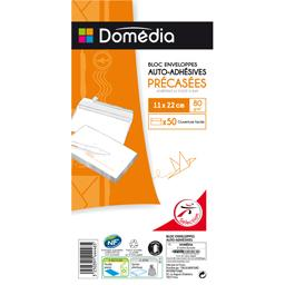 Domedia, Bloc enveloppes auto-adhesives precasees 11x22 cm, le paquet de 50
