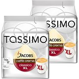 Tassimo Jacobs Caffè Crema XL, Rainforest Alliance Vérifié, Lot de 2, 2 x 16 T-Discs