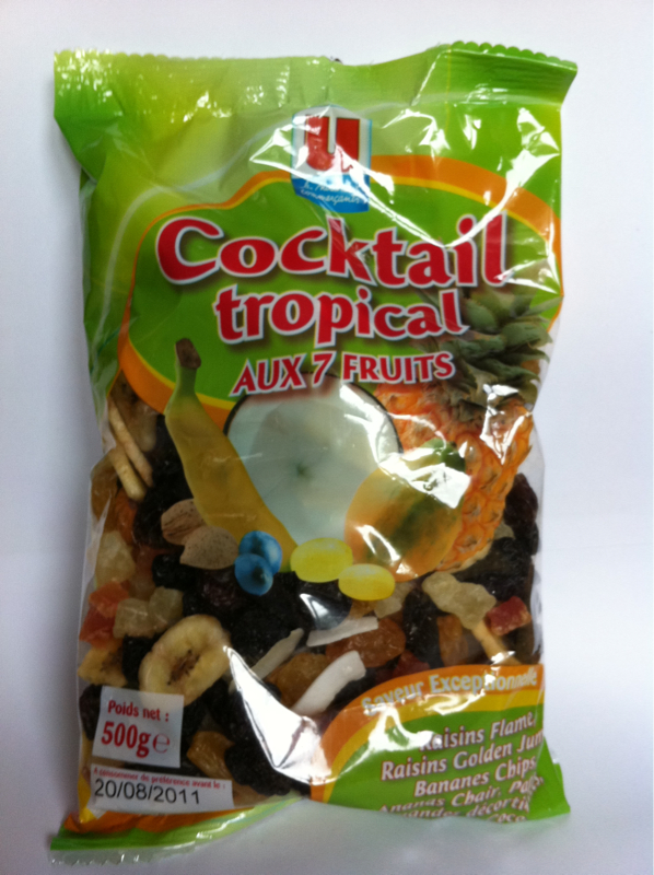 Cocktail Tropical de papaye, amandes, banane chips, raisins et coco lamelle U, 500g