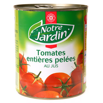 Tomates Notre Jardin entieres Pelees 476g