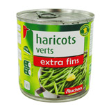 haricots verts extra fins auchan 220g