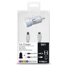 Chargeur allume cigare BIG BEN, compatible Nintendo 2DS/3DS XL/DSI/DSIXL/smartphone (micro-USB), nouvelle version, coloris assortis