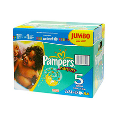 Couches Pampers Baby Dry Jumbo, taille 5 (11-25kg), paquet de 68
