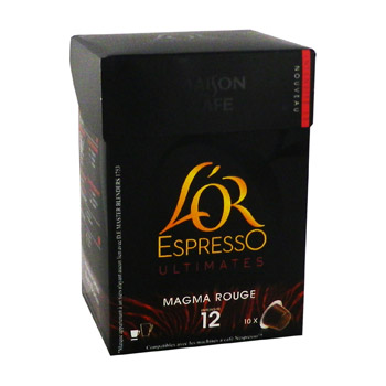 L'Or Espresso - Capsules de cafe moulu Magma Rouge - 10 capsules Intensite 12.