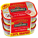 Connetable sardines h.olive et 5 baies lot 3x115g