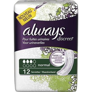 Always discreet incontinence serviettes normal x12