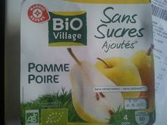 Puree de fruits bio Village Pomme poire 4x100g