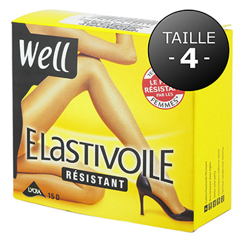Collant elastivoile resistant WELL noir T4