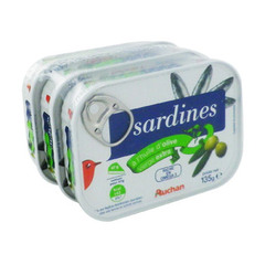 sardines a l'huile d'olive vierge extra auchan 3x135g
