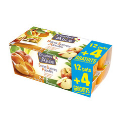 Dessert fruitier pomme abricot Charles & Alice 12x100g