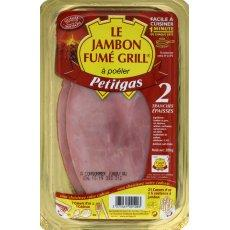 Jambon fume grill 2tranches a cuire s/skin 200g petitgas