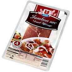 Jambon sec grand affinage U, 4 tranches, 100g