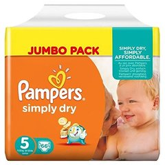 Pampers simply dry jumbo couches bébé t5 junior x66