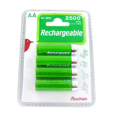 Auchan piles rechargeables high capacity HR06 2500 MAH x4