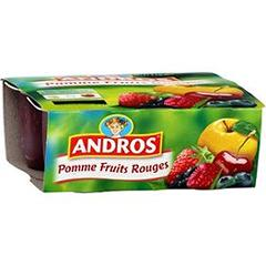 Andros desserts fruitier pomme fruits rouges 4x100g