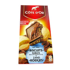 Cote d'Or, Chocolat au lait biscuits sables avec pointe de sel, la tablette de 180g