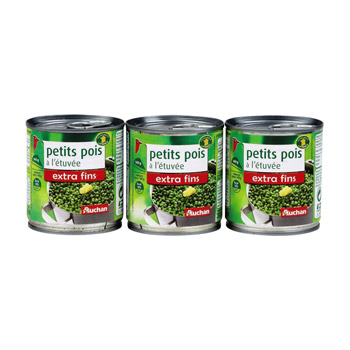 petits pois extra fins auchan 3x140g