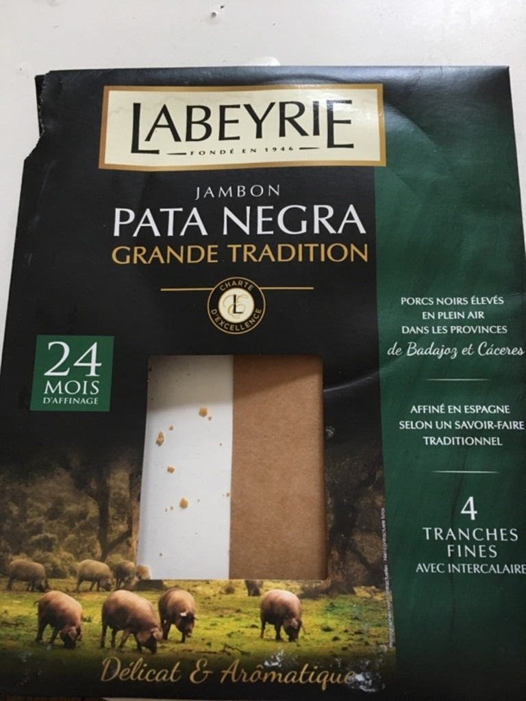 Labeyrie Jambon Pata Negra Grande Tradition Affiné 24 Mois Minimum 4 Tranches Fines 60 g