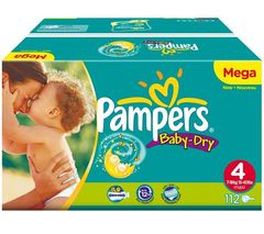 Couches Pampers Baby Dry megapack T4 x 112 7-18kg