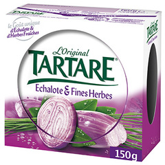 Fromage frais au lait pasteurise aromatise Echalotes et Fines Herbes TARTARE, 33%MG, 150g