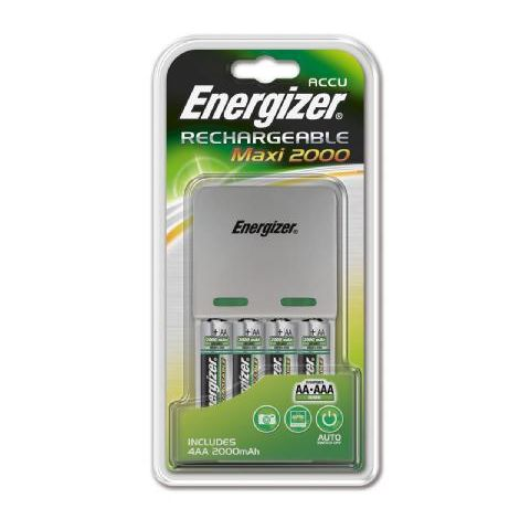 Energizer, Chargeur compact de piles AA et AAA, le chargeur + 4 piles aa 2000mah