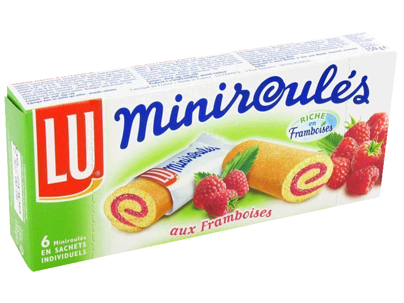 Mini roules a la pulpe de framboise LU, 6 pieces, 150g