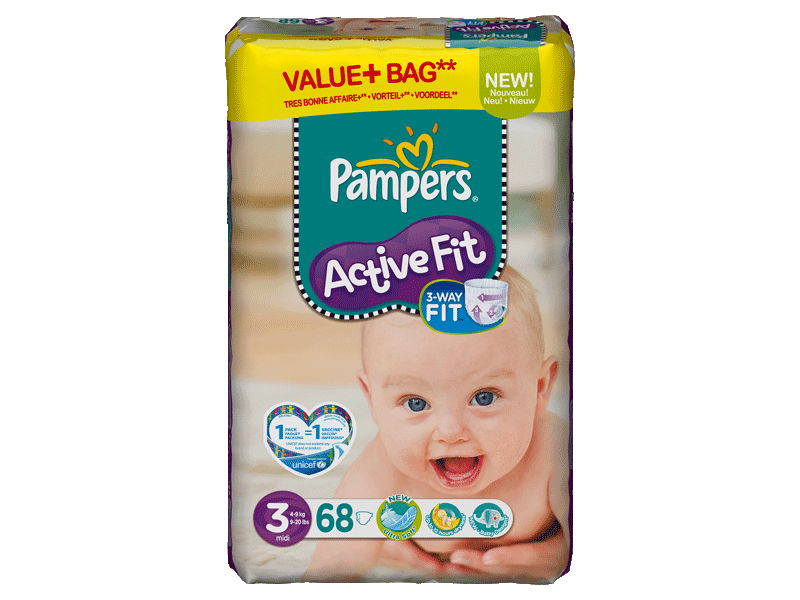 Pampers active fit value + midi change x68 taille 3