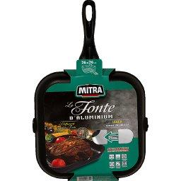Domedia, Grill fonte d'alu, tous feux compatible induction, anti-adhesif, 26x26cm, le grill