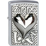 Zippo Collection 2013 2.003.250 Lighter with 'Love Heart Emblem' Street Chrome
