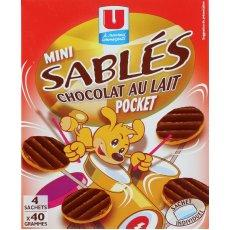 Mini-biscuits sables nappes de chocolat au lait U, 160g
