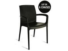 CONFORAMA Lot de 6 fauteuils empilables BOHEME coloris anthracite