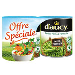D'aucy petits pois extra tendres 2x560g