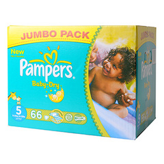Couches Baby Dry jumbo box PAMPERS, taille 5, 66 unites