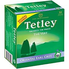 Tetley boite de 50 sachets tir'press the vert oriental earl grey
