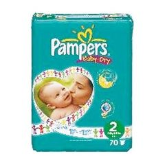 Couches Pampers Baby Dry T2 3-6kg x70 Geant