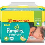 Couches baby dry méga + taille 4 (7-18kg) PAMPERS, 96 unités