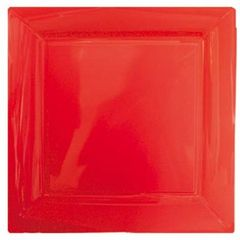 8 assiettes carrees plastique rouge