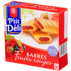 Barres fourrees P'tit Deli Fruits rouges x6 162g