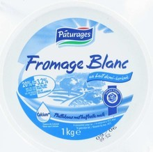 Paturages, Fromage blanc au lait demi-ecreme 20% MG, le pot,1Kg
