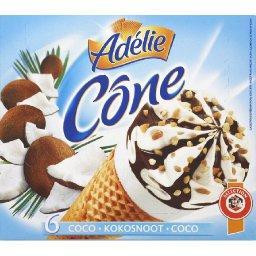 adelie cone glace noix de coco sauce chocolat et nougatine de noise les 6 cones de 120ml. Black Bedroom Furniture Sets. Home Design Ideas