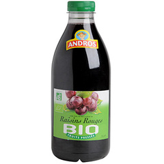 Jus de raisins rouges bio 100% pur jus fruits pressés Andros