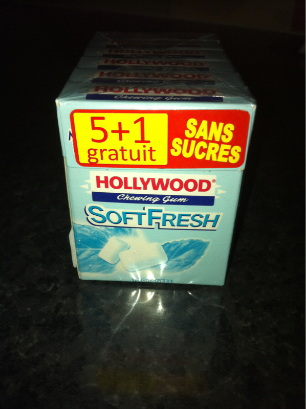 Chewing-gum Hollywood Soft fresh s/sucre 5 87gr