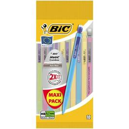 PORTE-MINE BIC MATIC COMBOS 0,7MM HB X10-CORPS ET AGRAFE COLORES-GOMME-CONTIENT 3 MINES HB 0,7MM-MAXI PACK